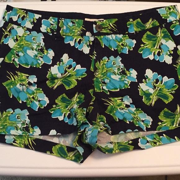 Merona Pants - Merona 100% Cotton Navy Blue floral shorts size 10